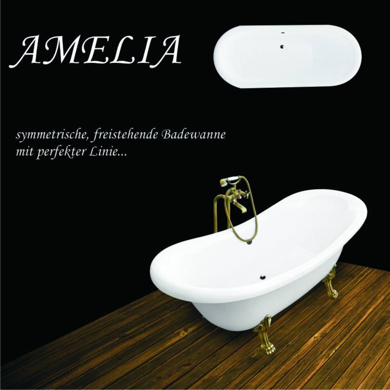retro freistehende badewanne amelia 190 x 77 cm ebay. Black Bedroom Furniture Sets. Home Design Ideas